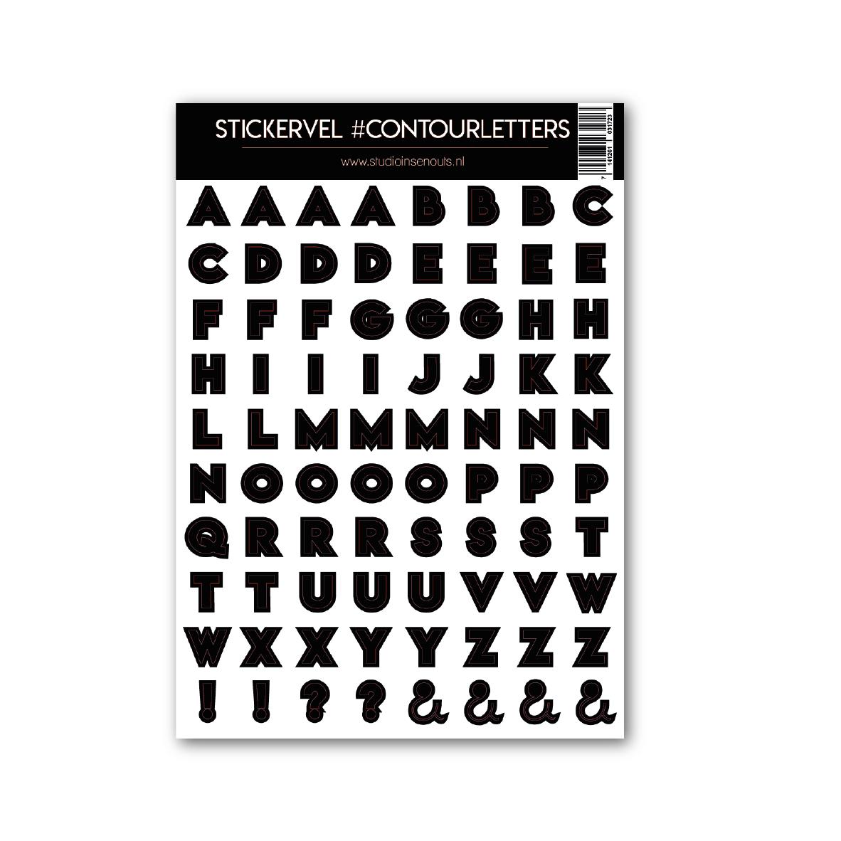 Stickervel   Contour letters