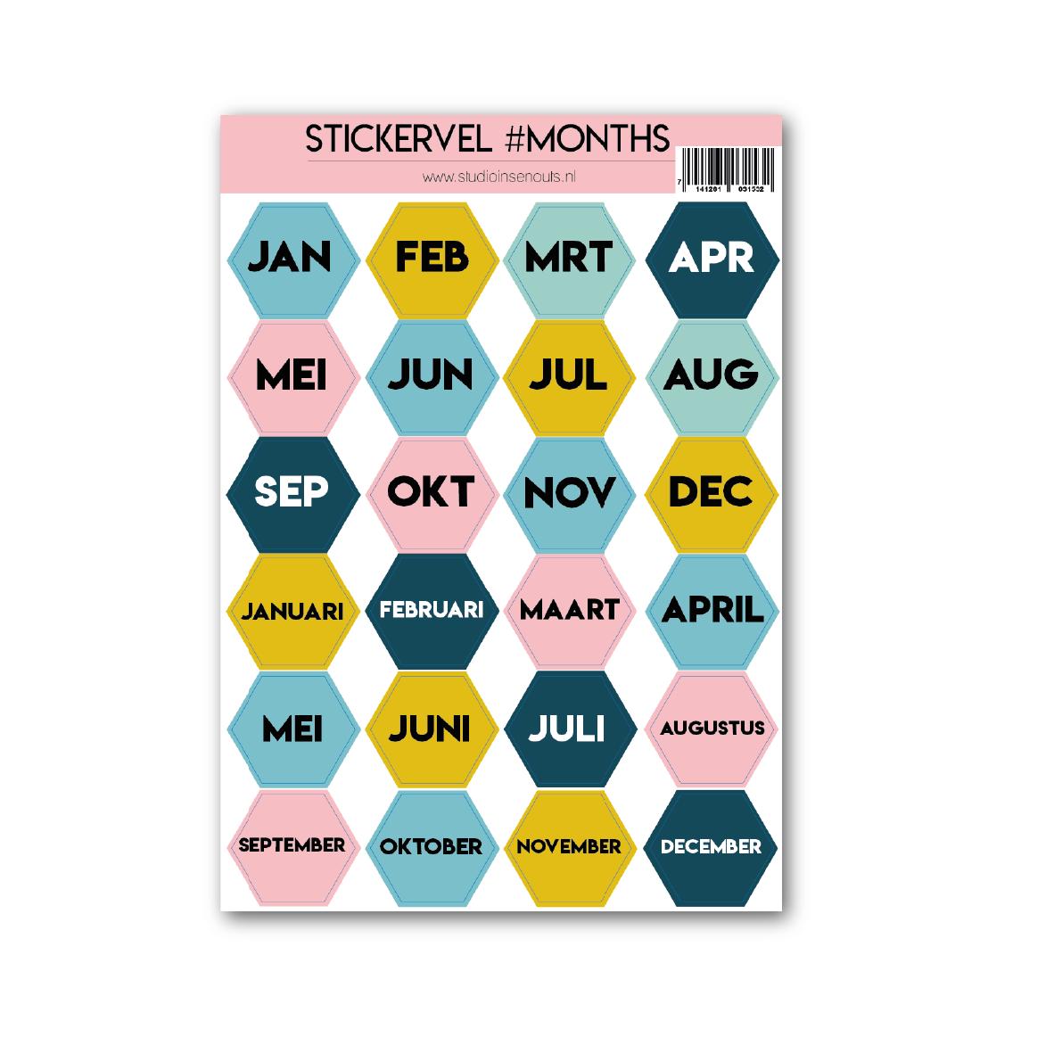 Stickervel hexagon   Maanden