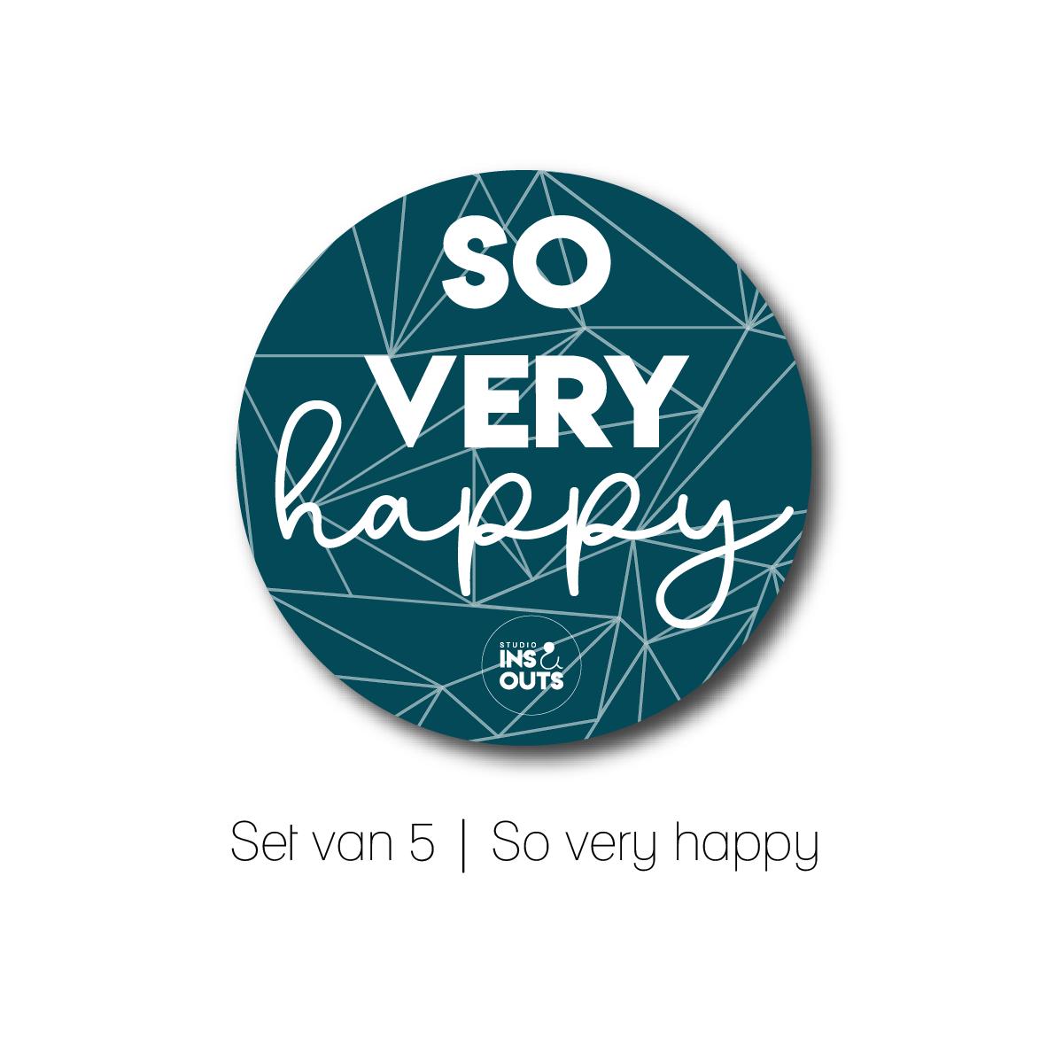 Set van 5 cadeau stickers | So very happy