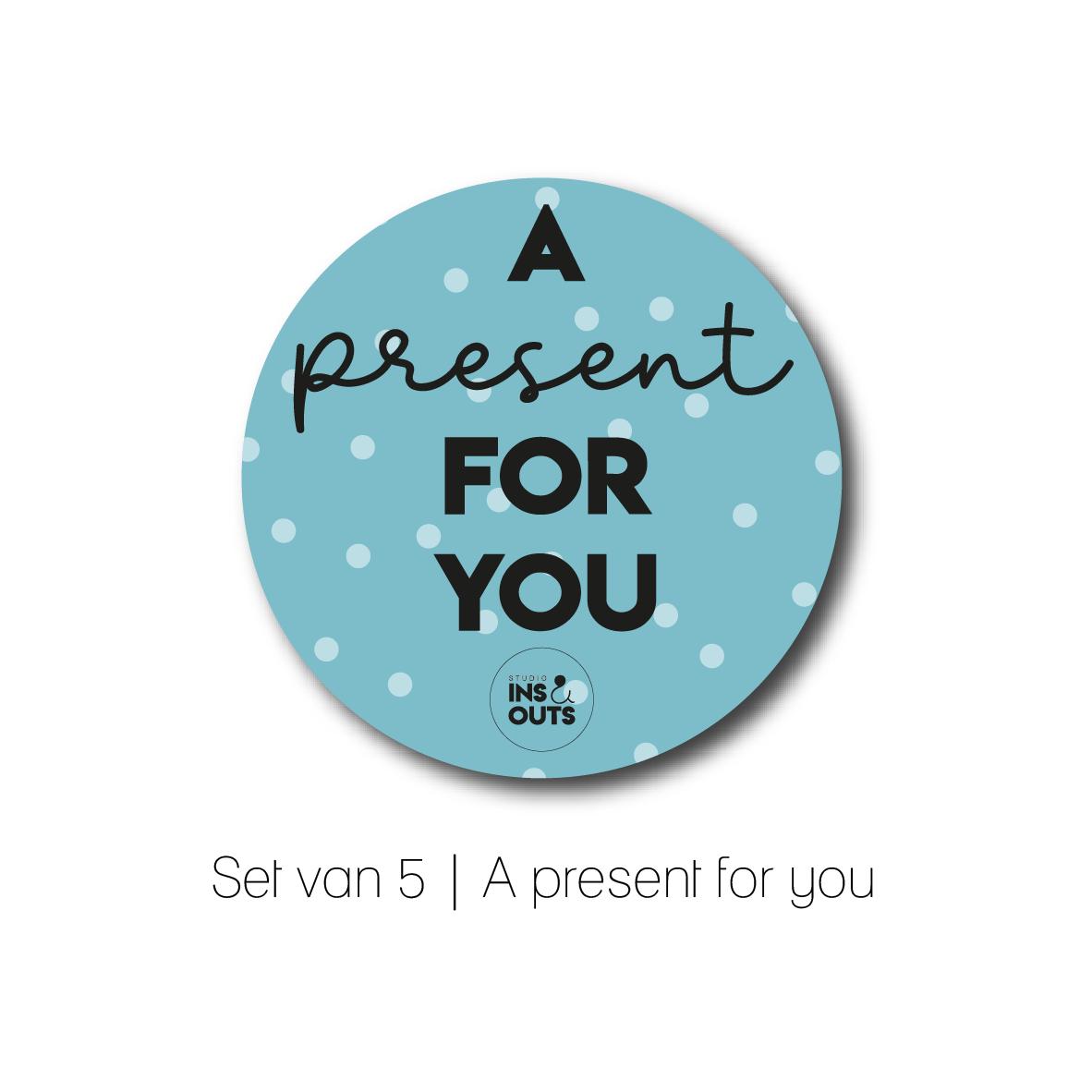 Set van 5 cadeau stickers | A present for you